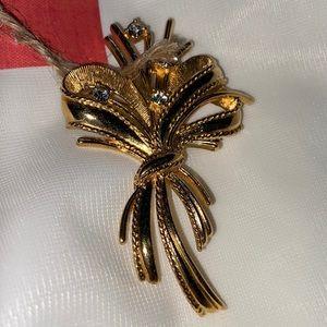 Rhinestone and Ribbon Bouquet Gold Tone Brooch